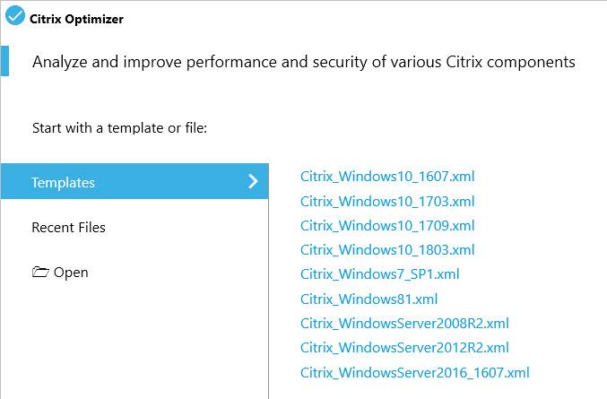 Creating a custom template for Citrix Optimizer - Citrix Optimizer screenshot