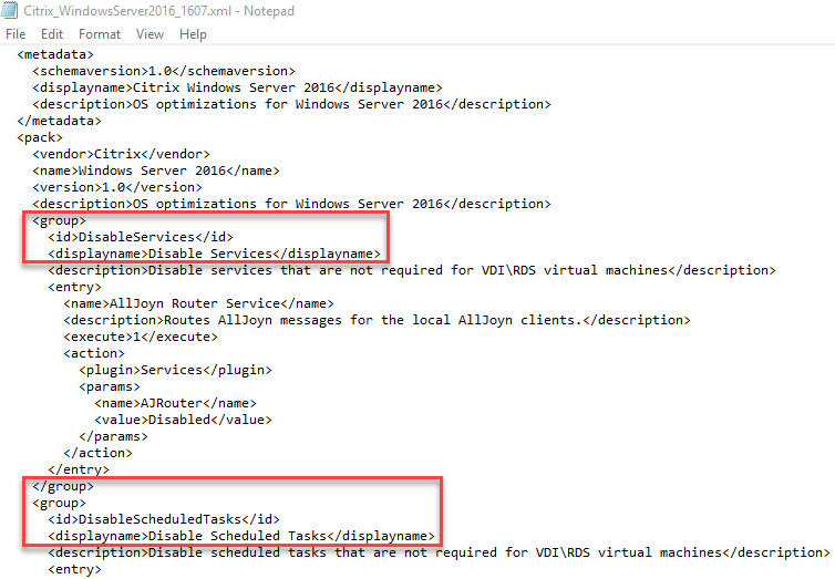 Creating a custom template for Citrix Optimizer - XML template groups
