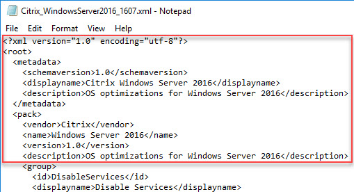 Creating a custom template for Citrix Optimizer - XML template header