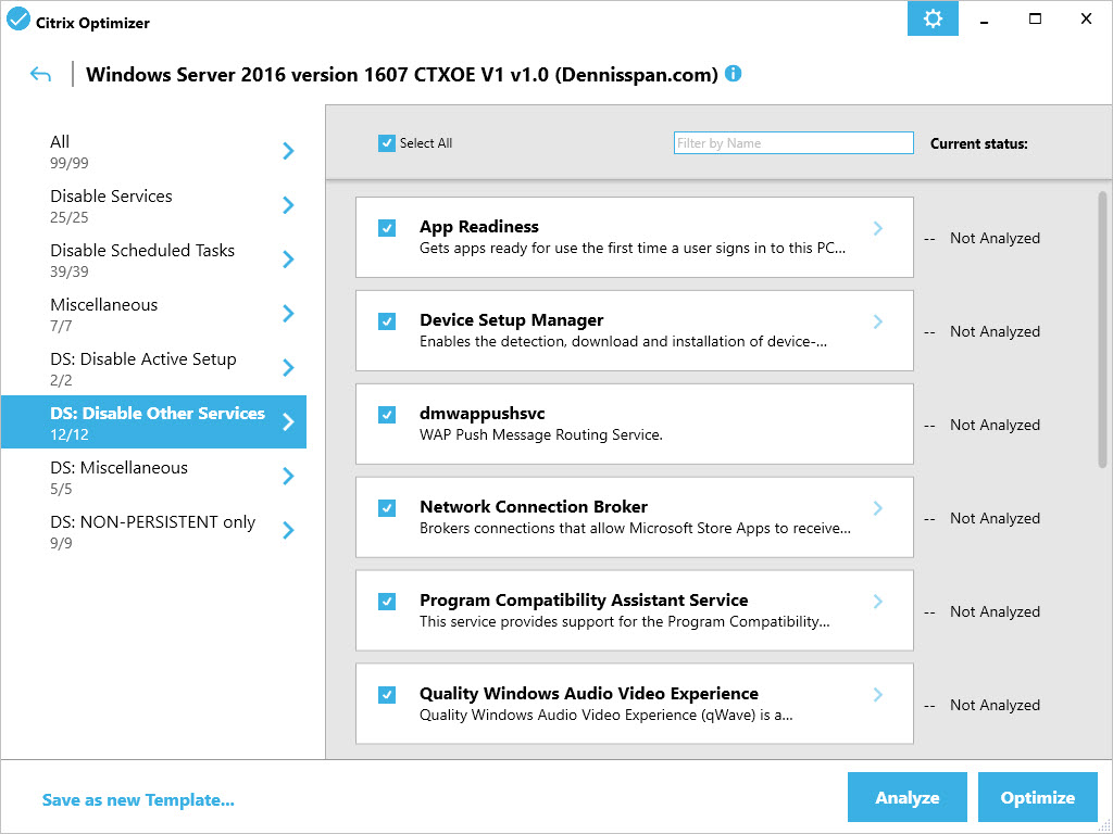 Citrix Optimizer custom template for Windows Server 2016 - GUI Disable Other Services
