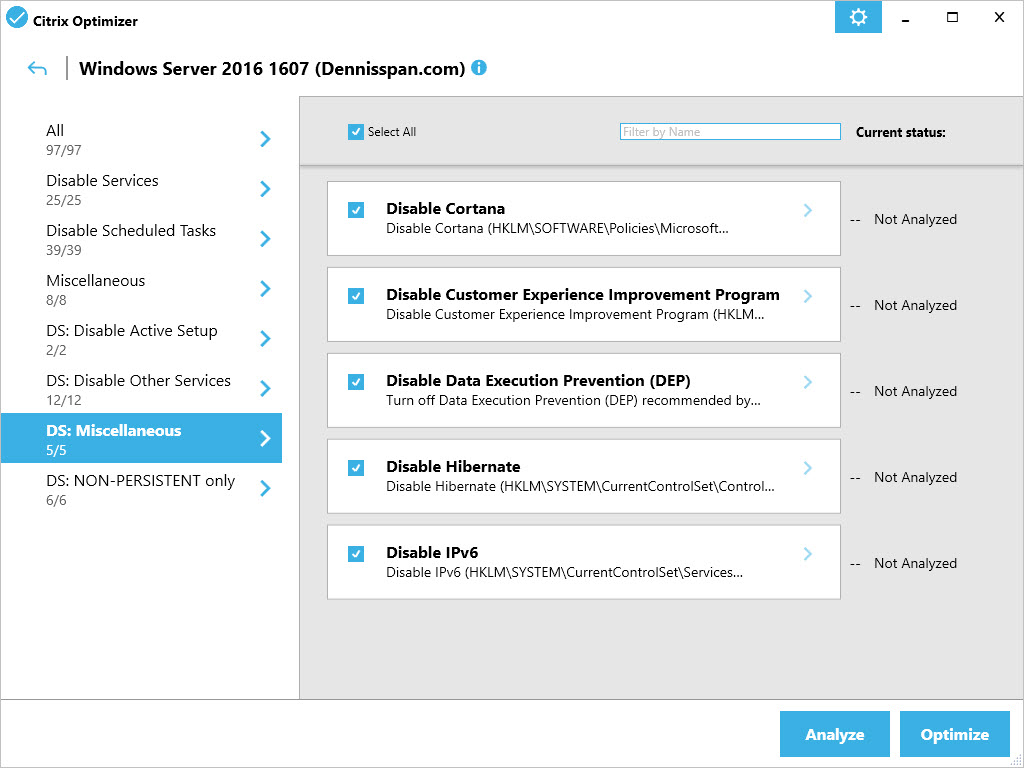 Citrix Optimizer custom template for Windows Server 2016 - GUI Miscellaneous