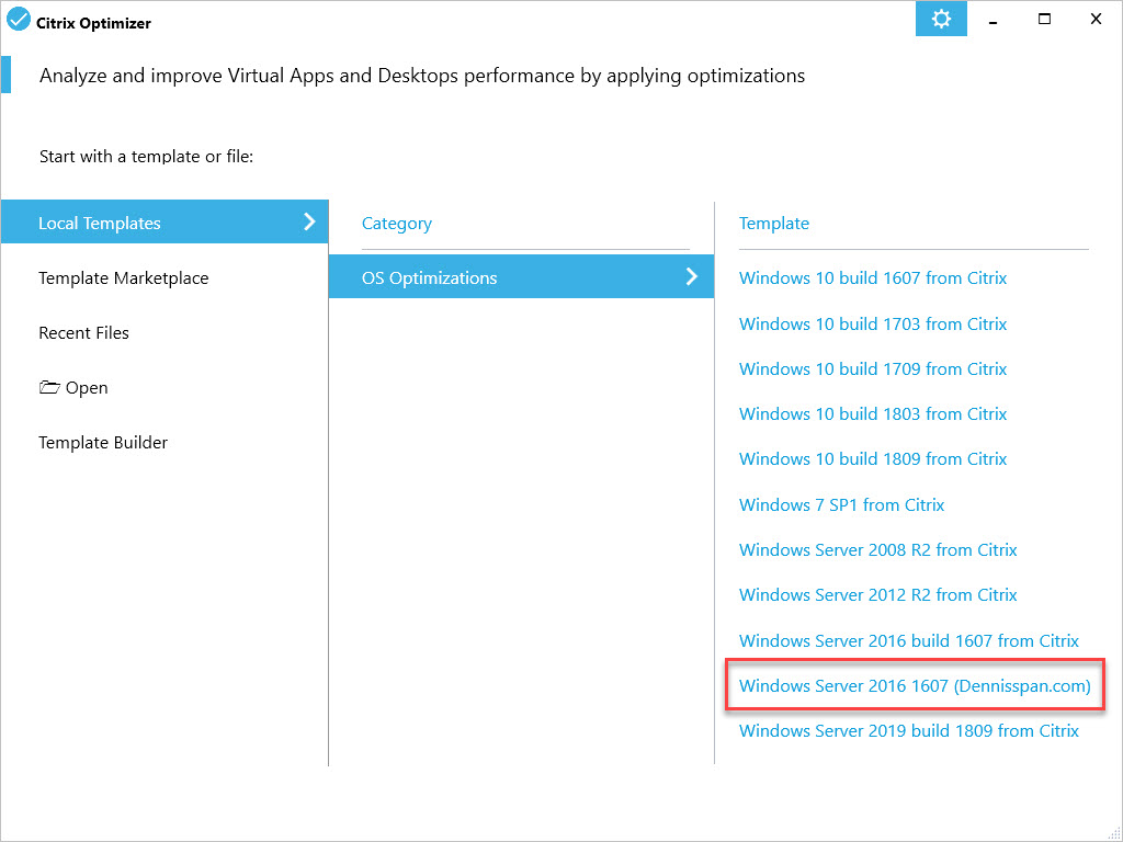 Citrix Optimizer custom template for Windows Server 2016