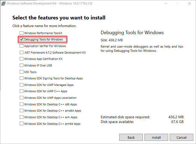 Analyzing system crashes on non-persistent machines - Windows Debugger installation select features