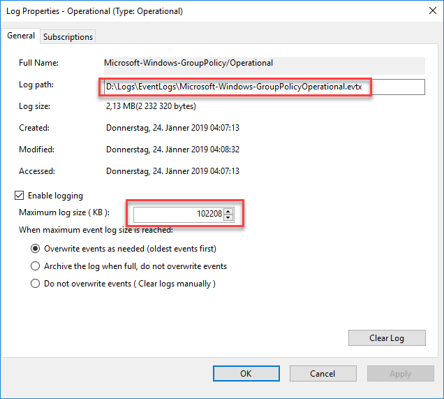 Enabling logon duration drill-down in Citrix Director - Group policy event log size