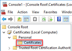 Configuring multiple URLs on a single-site StoreFront deployment - MMC certificates personal store