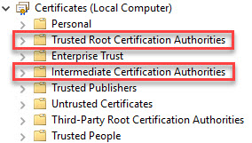 Configuring multiple URLs on a single-site StoreFront deployment - MMC certificates root and intermediate store