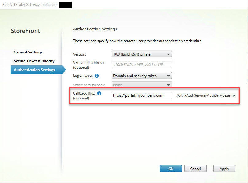 Making limited use of Citrix SmartAccess without Universal licenses - Citrix Gateway callback URL