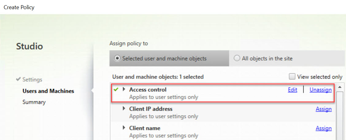 Making limited use of Citrix SmartAccess without Universal licenses - Citrix policy allow drive mapping Access Control filter deny 2