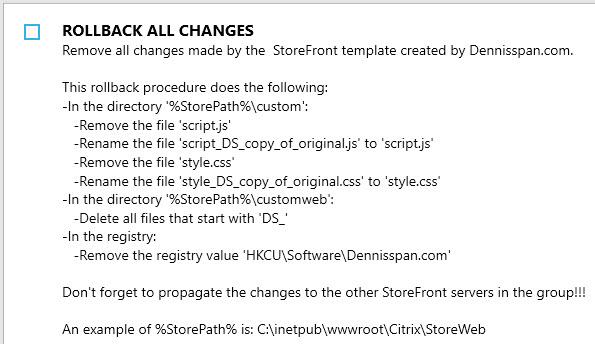 Customize Citrix StoreFront with Citrix Optimizer - Rollback