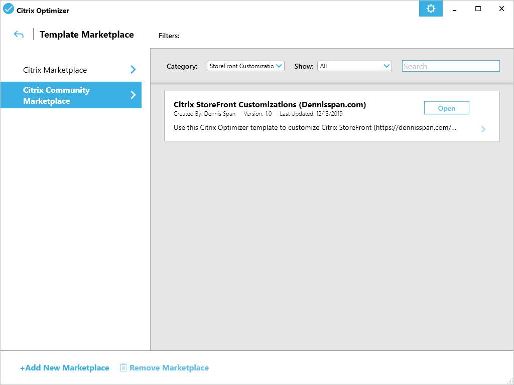 Customize Citrix StoreFront with Citrix Optimizer - Marketplace