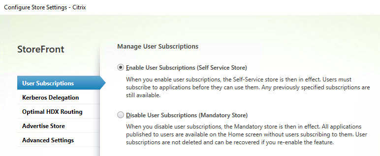 Mandatory or self service store