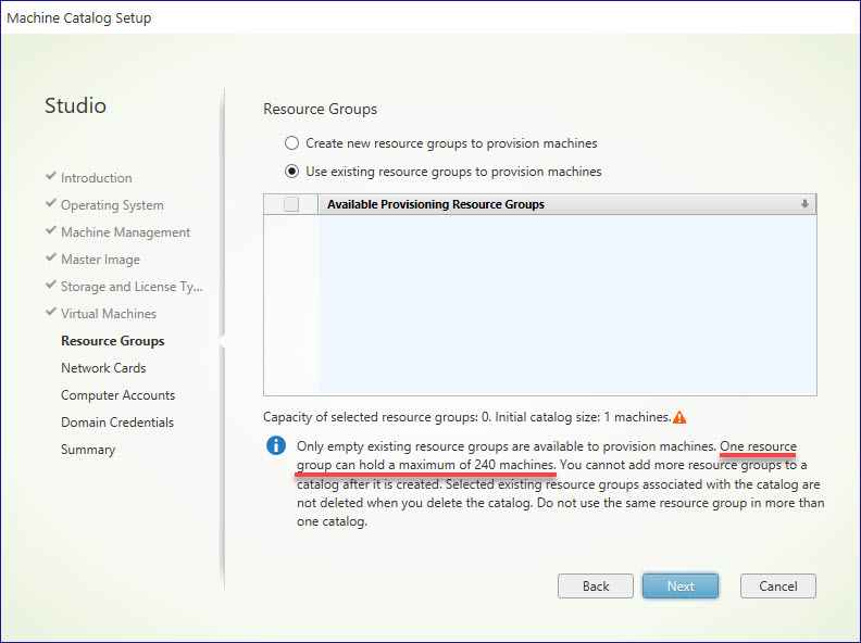 managing azure limits - CVADS new catalog create resource groups