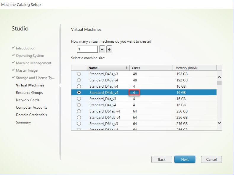 CVADS new catalog select machine size