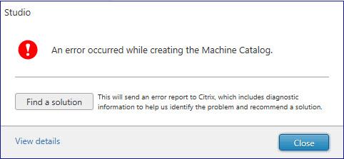 Citrix Studio provisioning error due to quota limit 1