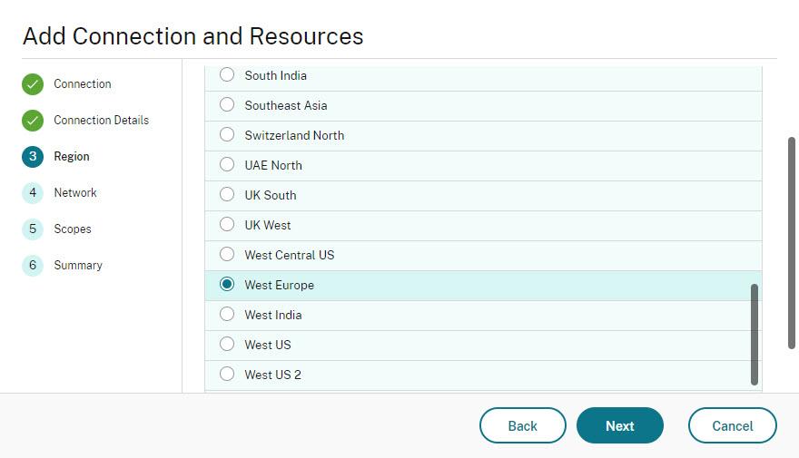 Add Azure hosting connection Web Studio wizard step 4