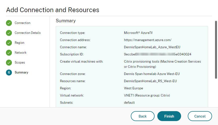 Add Azure hosting connection Web Studio wizard step 7