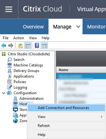 Add Azure hosting connection wizard step 1
