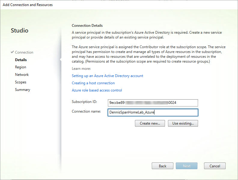 Add Azure hosting connection wizard step 3