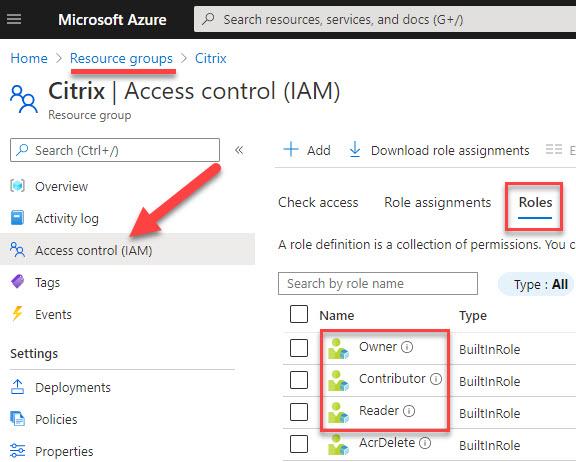 Azure RBAC built-in roles