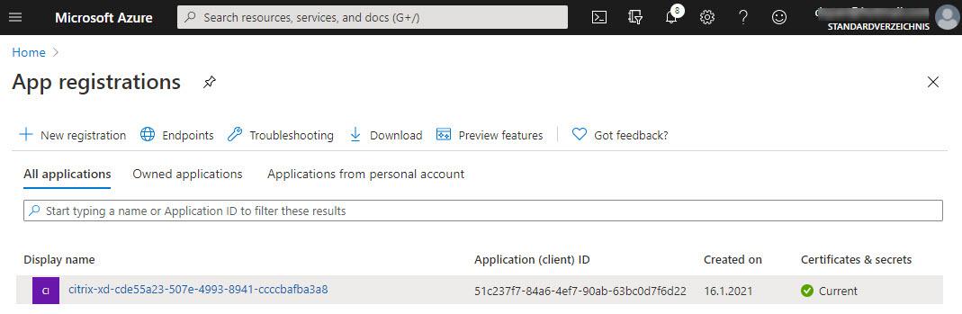 Azure app registration