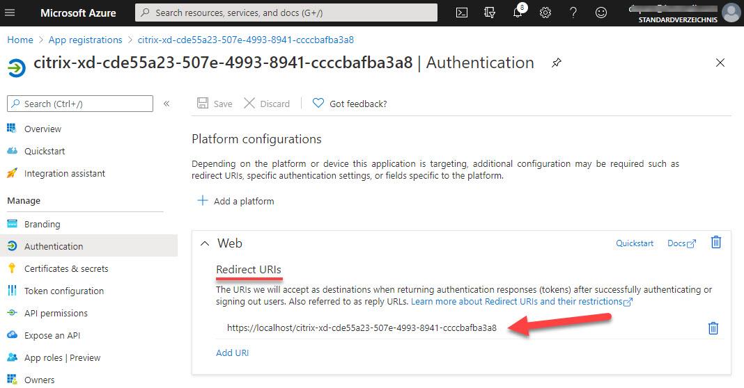 Azure app registration - authentication