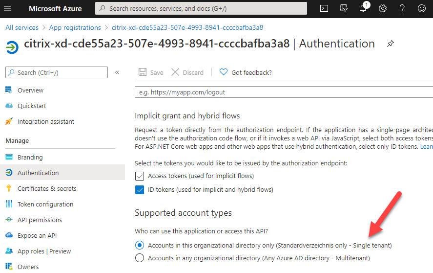 Azure app registration - single tenant account type