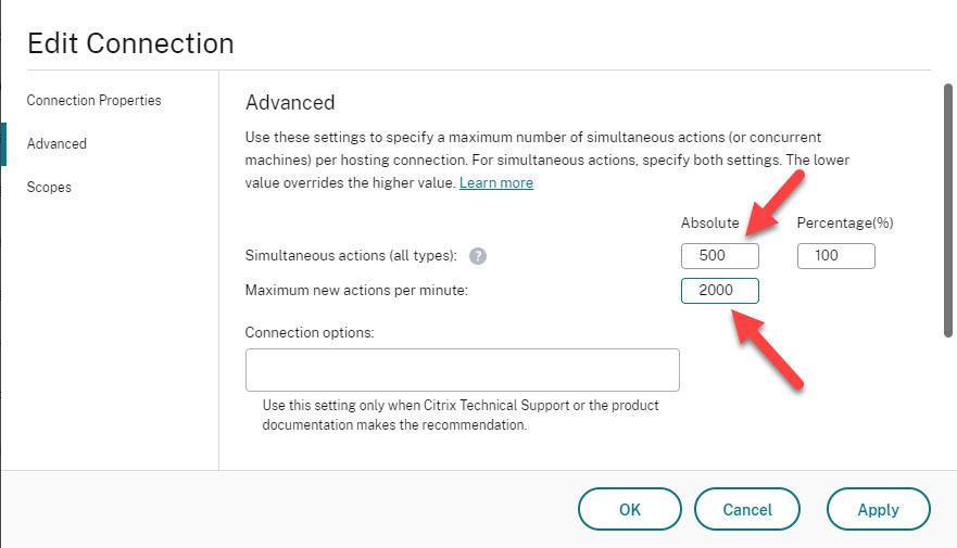 Modify Azure hosting properties for optimized MCS step 2