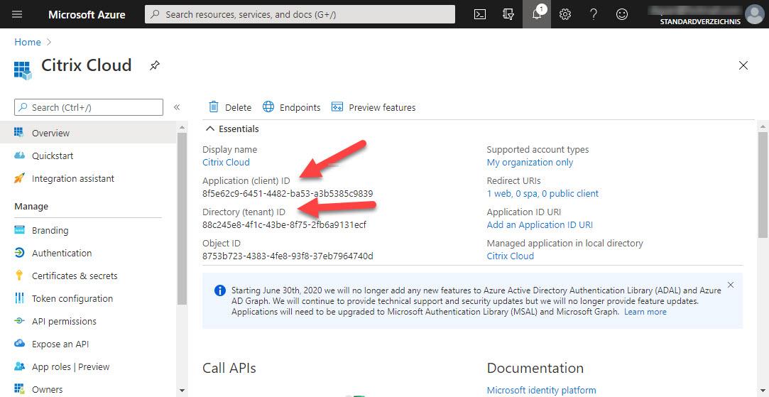 New app registration - app ID and tenant ID