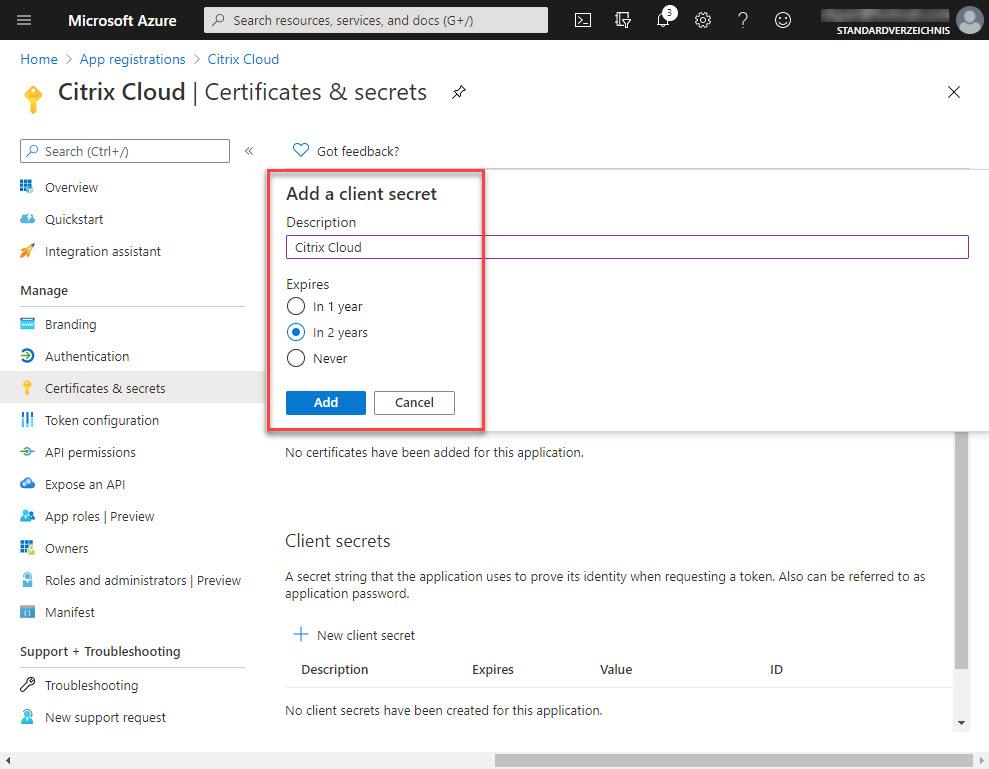 Update application secret step 4