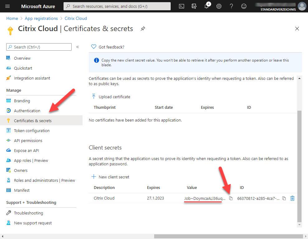 Update application secret step 5